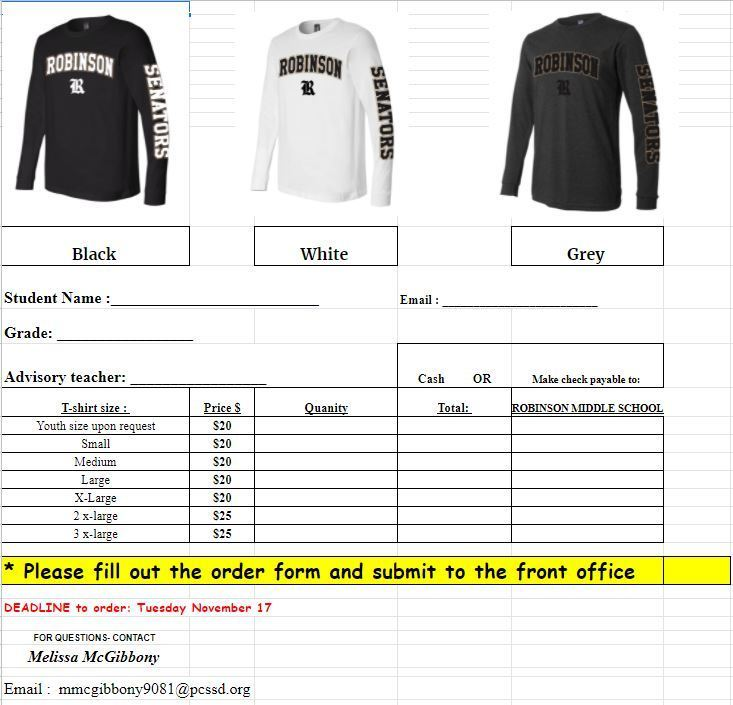Order Form long sleeve shirts
