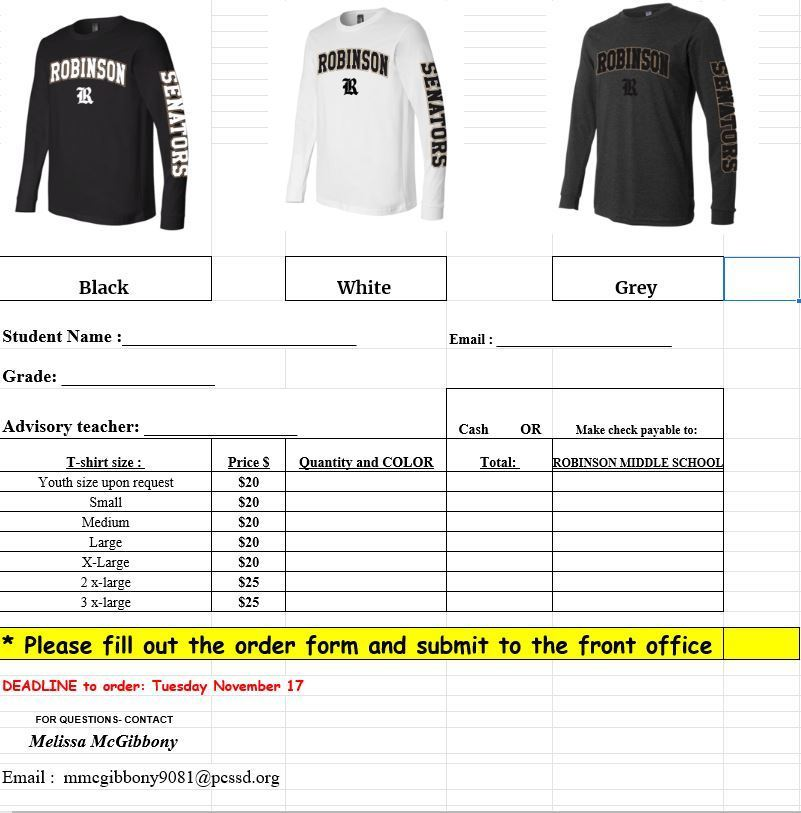 Order form long sleeve t-shirt