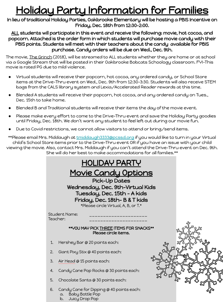 PBIS Holiday Party Info