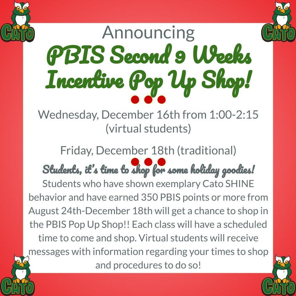 PBIS incentive for 2nd nine weeks