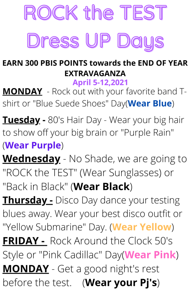 Rock the TEST Spirit Week