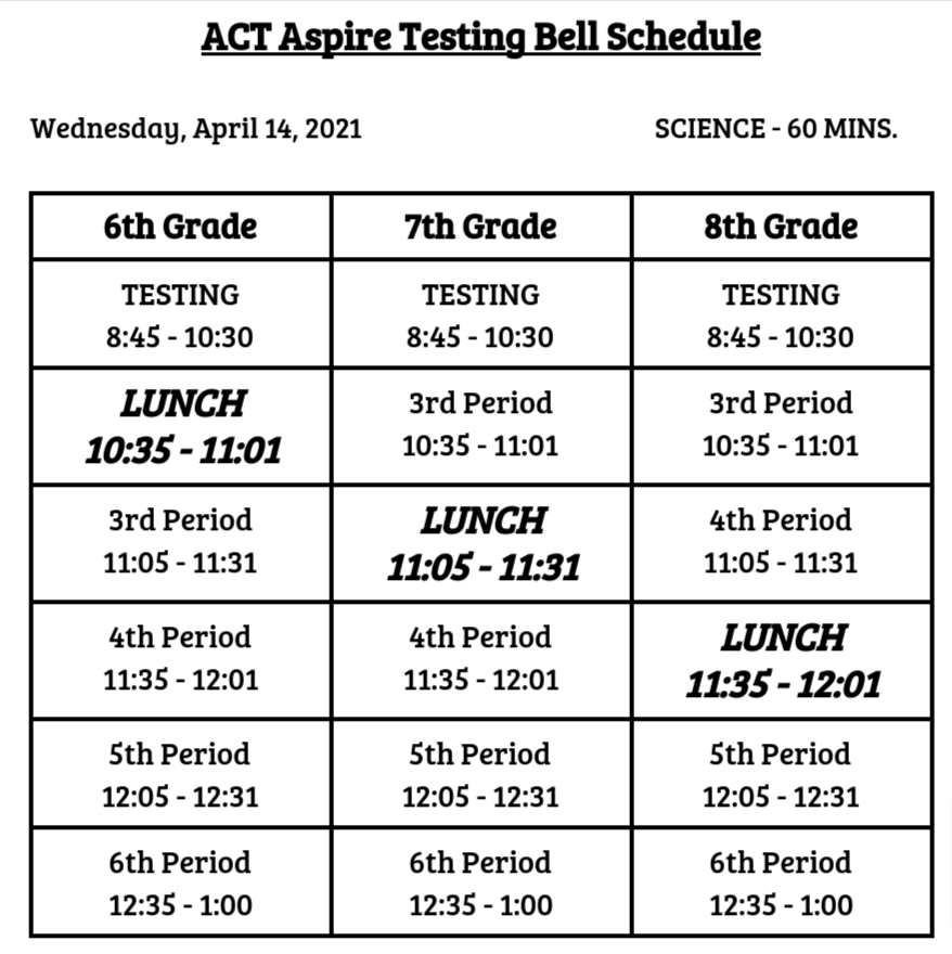 Wednesday April 14 Bell Schedule