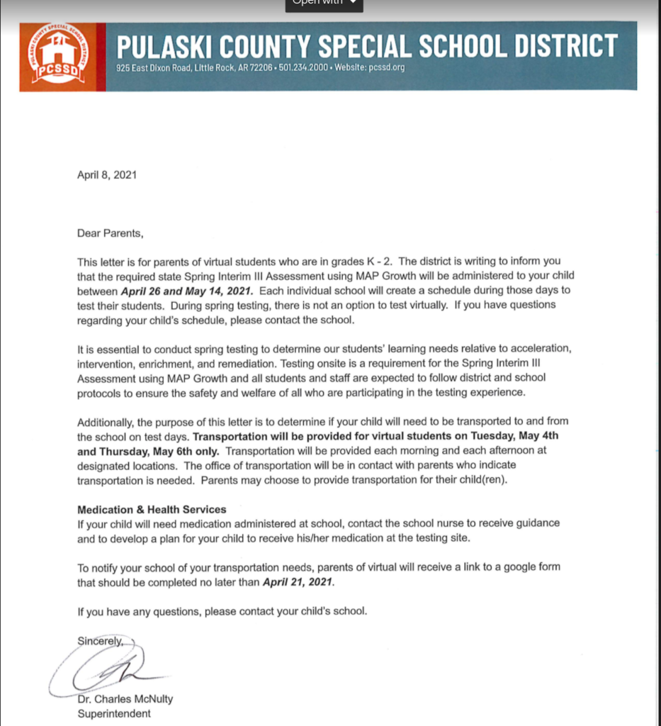 District Letter about K2 testing in person