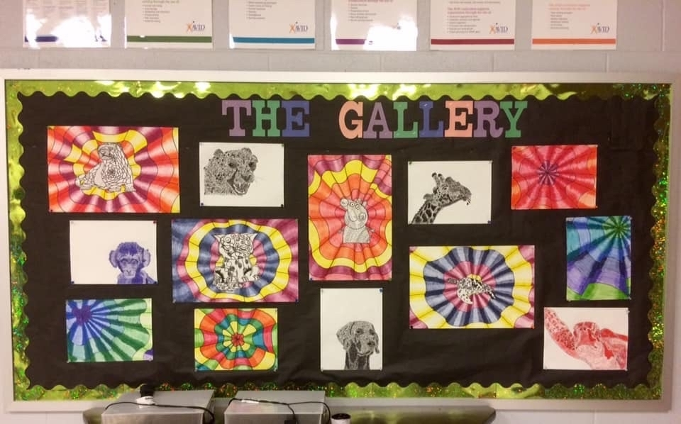 Various artwork from the art class.