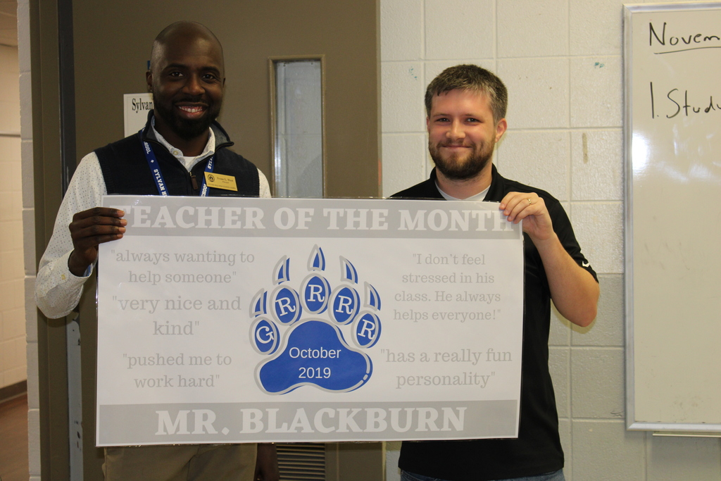 Blackburn named teacher of the month