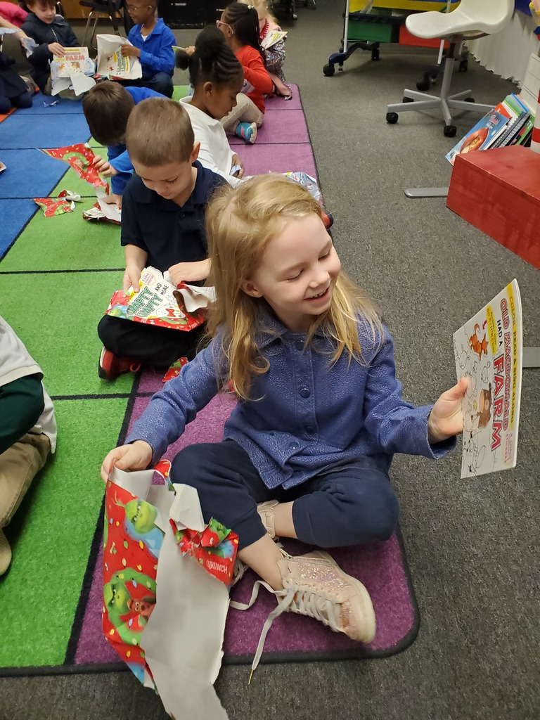 Books donated to a kindergarten classroom