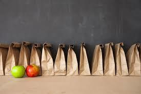 Brown paper bags and apples