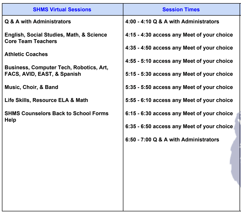 Virtual Open House Schedule