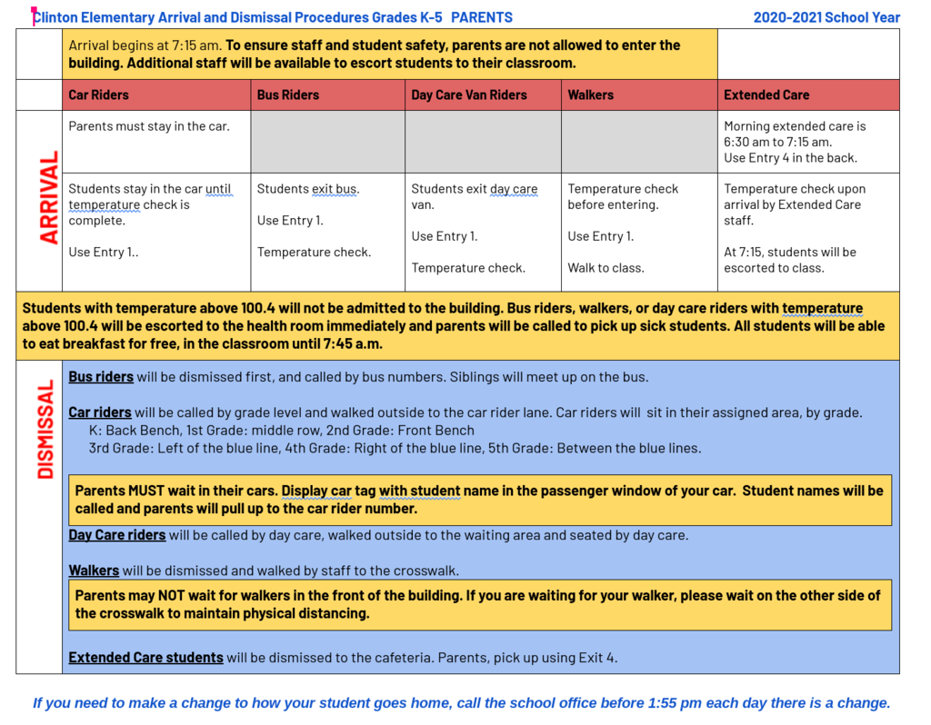 Chart with arrival and dismissal info for parents