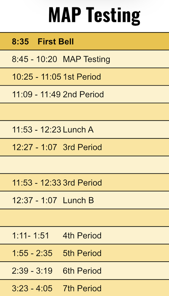 Bell schedule for MAP testing